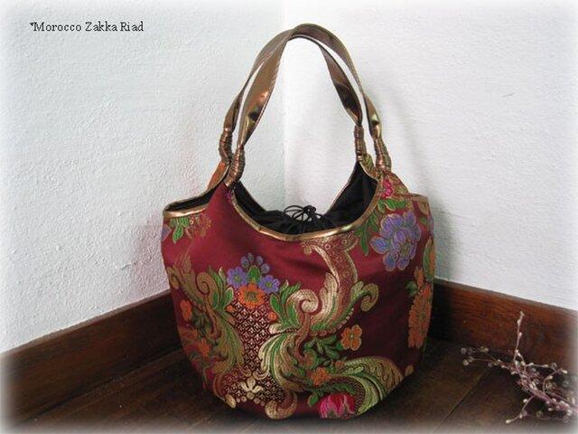 ゴブラン織りバルーンバッグ LUXURY ボルドーの画像1枚目