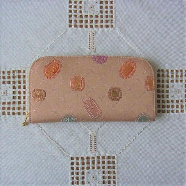 ファスナー長財布(帯地・宝石柄)の画像1枚目
