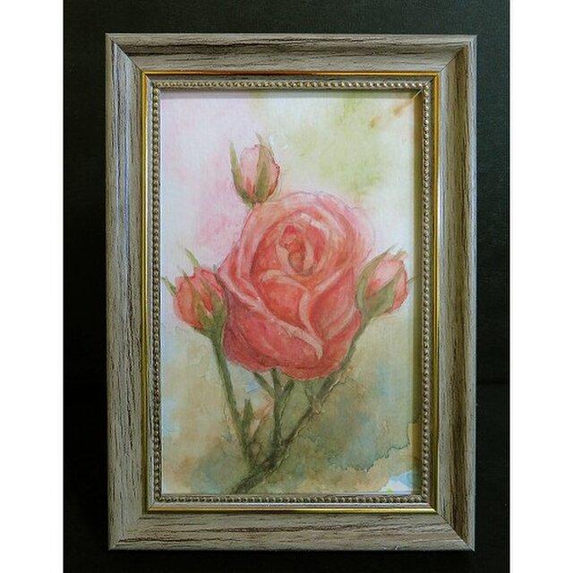 額付き水彩原画「薔薇の花」の画像1枚目