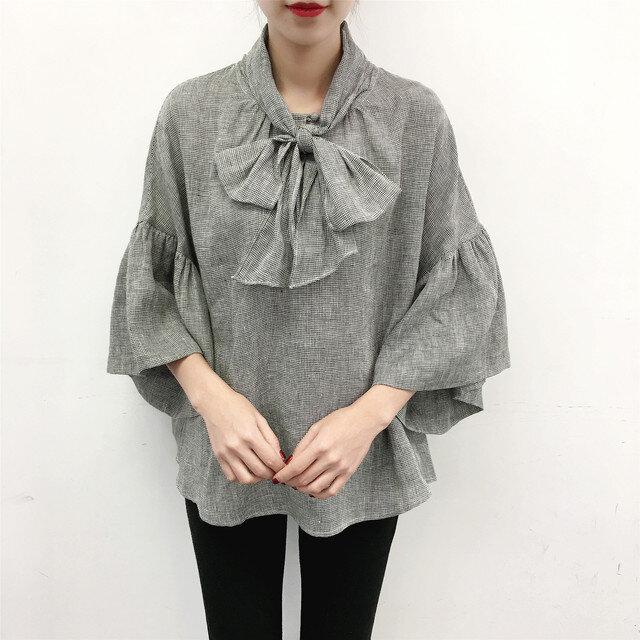en-en ●ミニミニ千鳥リネン 前リボンギャザー袖プルオーバー(新作、人気、麻)の画像1枚目