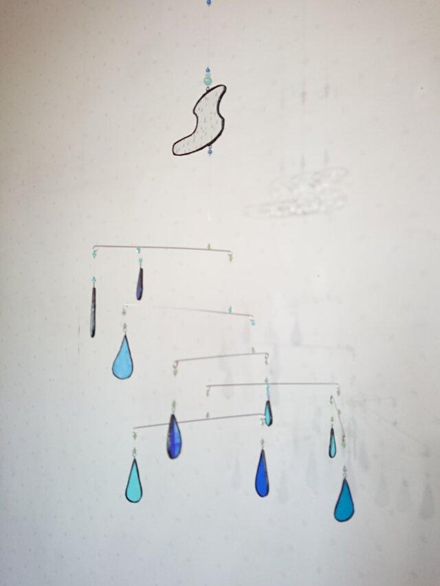 ステンドグラス モビール「ブルーのしずく」の画像1枚目