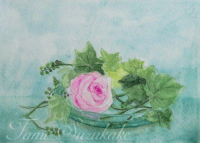 水彩画・原画「薔薇と野葡萄」の画像1枚目