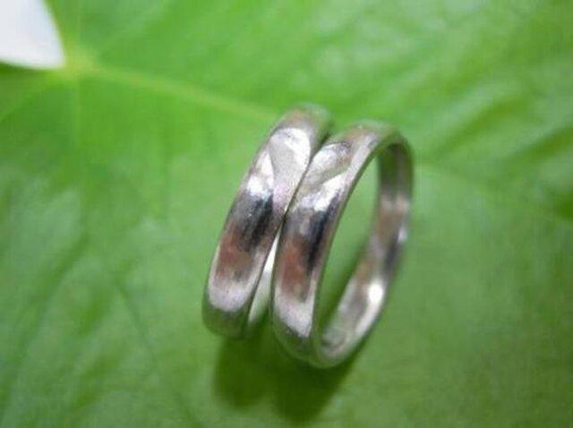 ハンドメイド結婚指輪☆粗仕上げ&渋可愛いハートの甲丸の画像1枚目