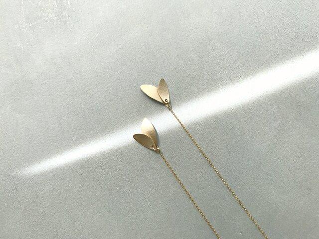 K14GF leaf〜ゴールドチェーンピアスの画像1枚目