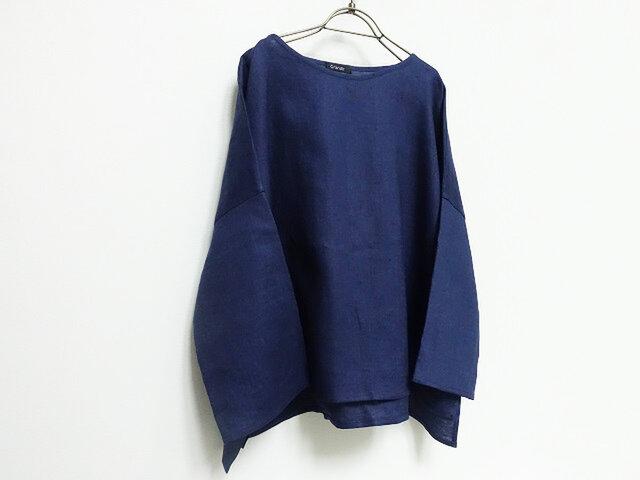 ビックライズ加工リネンプルオーバー紺藍の画像1枚目