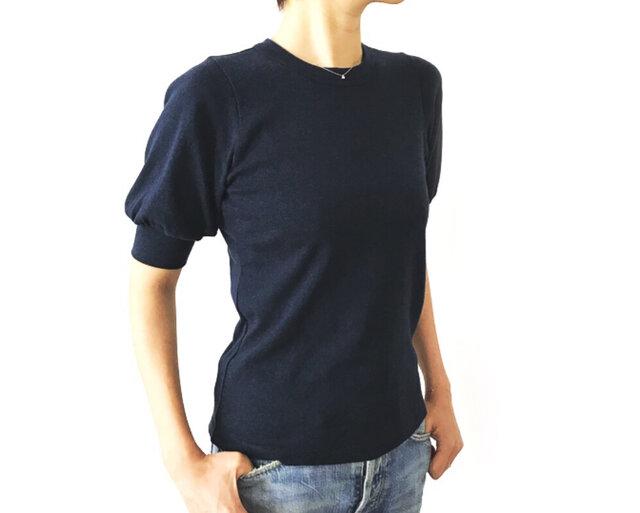 日本製オーガニックコットン 形にこだわった 大人のギャザー袖Tシャツ【サイズ・色展開有り】の画像1枚目