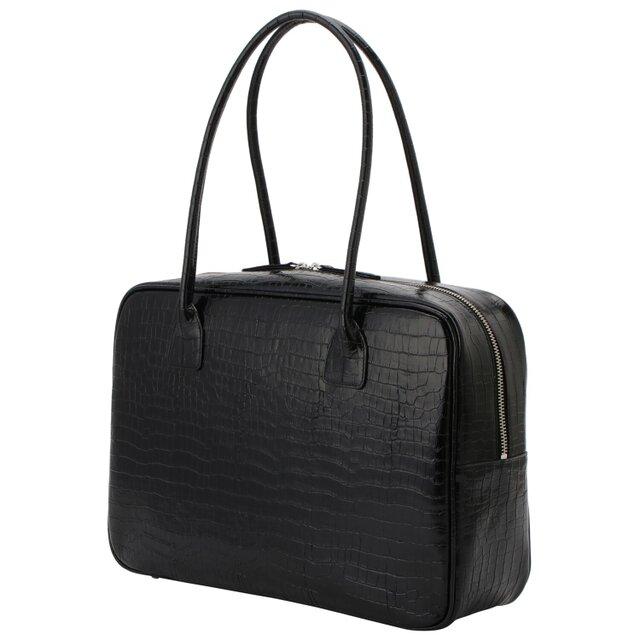 A4対応 人気のスクエアボストン オール牛革 本革バッグ 軽量 クロコ型 レザー ブラックの画像1枚目