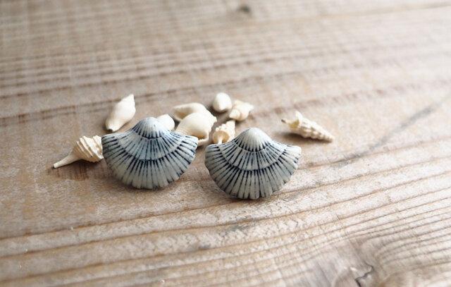 青い貝殻の耳飾り(ピアス)の画像1枚目