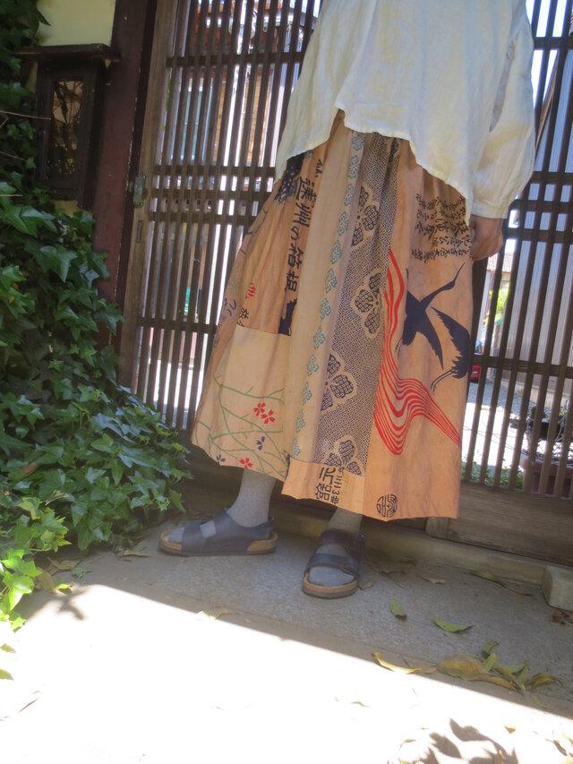 手ぬぐいリメイク☆夏に向けて柿渋染の手拭いで染ムラも楽しいおとなスカート79㎝丈の画像1枚目