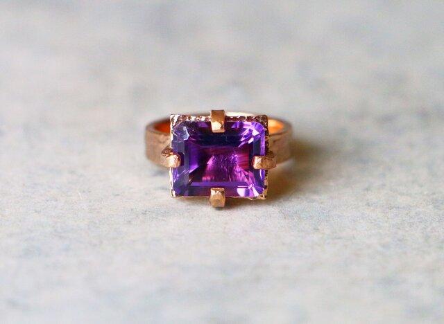 古代スタイル*天然アメジスト 指輪*8号 pinkGPの画像1枚目