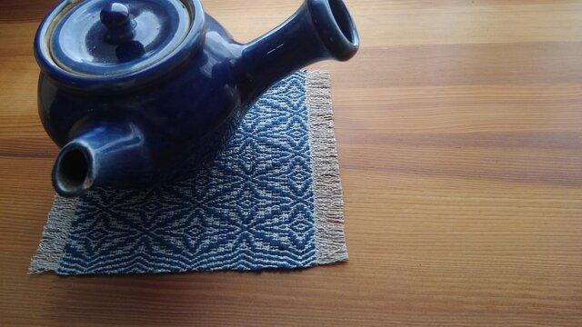 藍模様手織りの花瓶敷の画像1枚目
