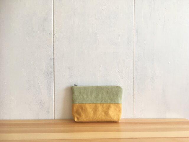 黄色×黄緑色 ポーチの画像1枚目