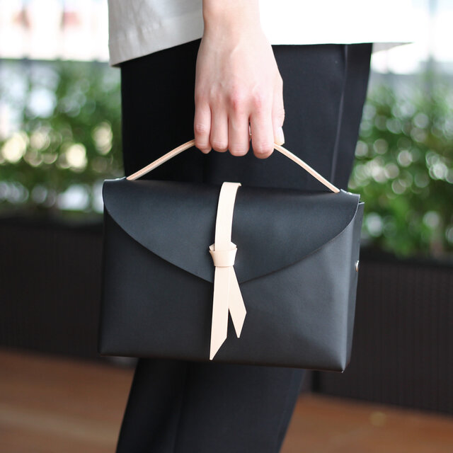 2way box bag slim #BLKxBEG/ 2way レザーボックスバッグ スリム #黒xベージュの画像1枚目