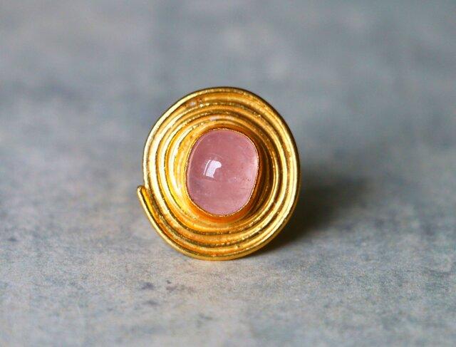 古代スタイル*天然モルガナイト ピンク 指輪*9号 GPの画像1枚目