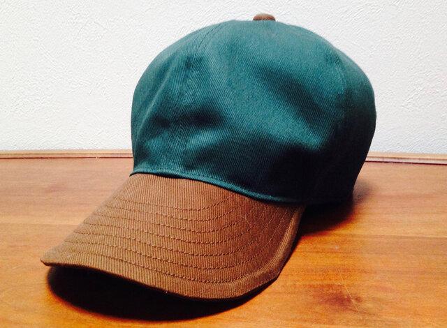 『特別ご注文品』 ツイル織 ツバ長大きめキャップGreen/Brown(65cm)の画像1枚目