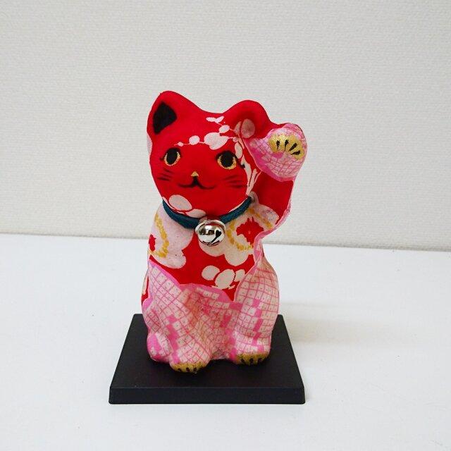 """一閑張り張子  """"招き赤猫""""の画像1枚目"""