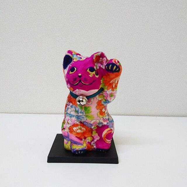 """一閑張り張子  """"招きピンク猫""""の画像1枚目"""