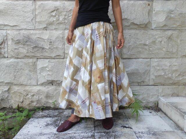 木版プリント 柄から作った一点物のラップスカート。の画像1枚目
