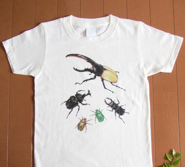 受注プリント全4色☆Tシャツ「虫たちの集会」オリジナルデザイン☆大人から子供まで全てのサイズ対応  昆虫 虫 ヘラクレスの画像1枚目