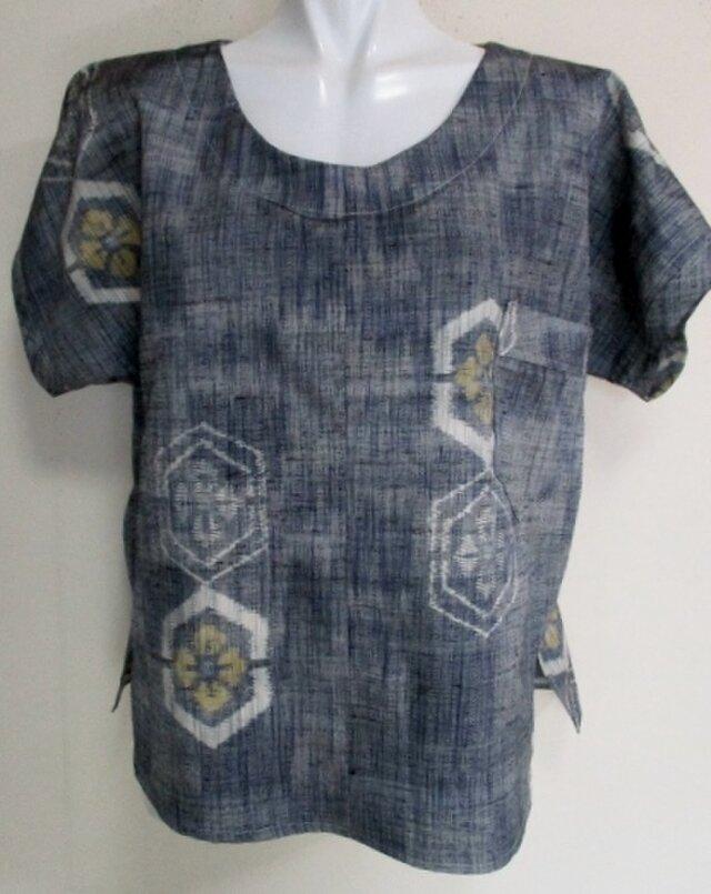 4289 #送料無料 紬で作ったプルーオーバー(Tシャツ)の画像1枚目