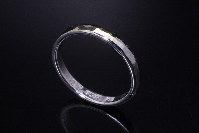 指輪 メンズ レディース : 甲丸 丸 鎚目 シルバー リング 3mm幅 シルバー×K18 14~26号 シンプル ペアリングの画像1枚目