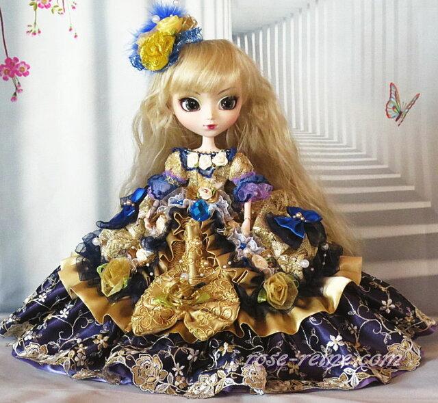 豪華ドールドレス 美しきルノアールのアンティークゴールド 社交界の華 可憐なタッキングフリルドールドレスの画像1枚目