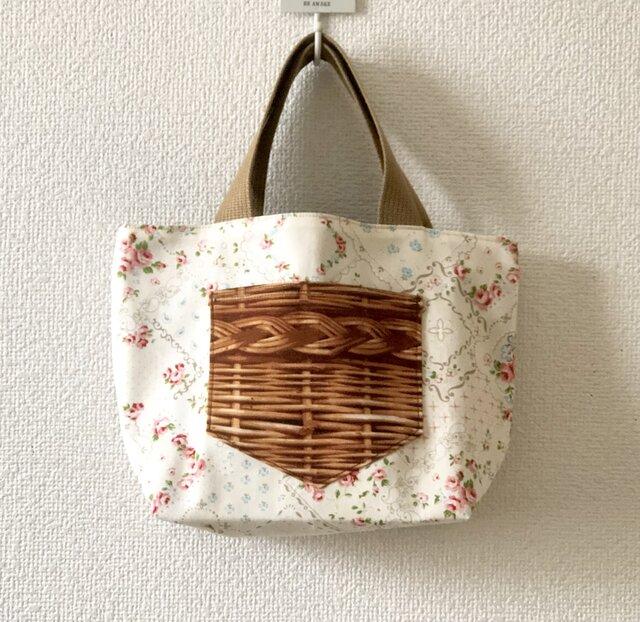 新作★reversible mini tote bag【rose】の画像1枚目