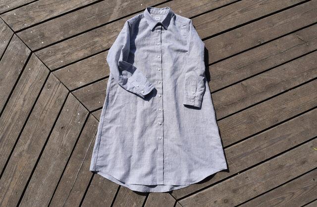 linen/cotton shirt onepiece  播州織 シャツワンピースの画像1枚目
