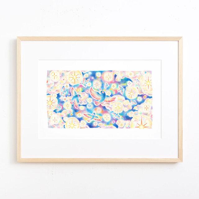 """絵のある暮らし。大きな額装アートプリント """"星あふれる夜空を舞う鳥たち"""" FAP-A3N501の画像1枚目"""