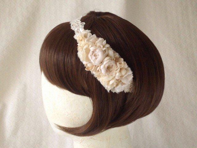 レースと染め花のカチューム(オフホワイトのバラ)の画像1枚目