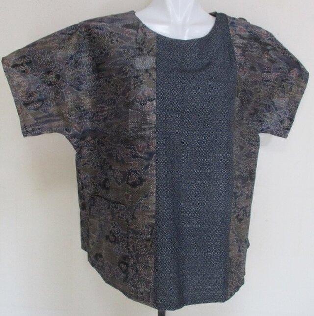 4299 #送料無料 大島紬で作ったTシャツの画像1枚目