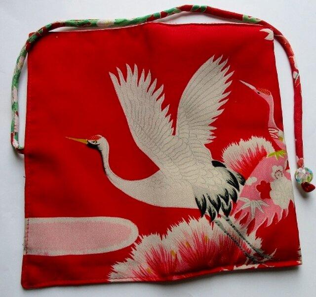 4303 #送料無料 鶴の柄の着物で作った和風財布・ポーチの画像1枚目