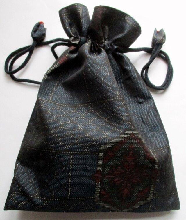 4301 #送料無料 色大島紬で作った巾着袋の画像1枚目