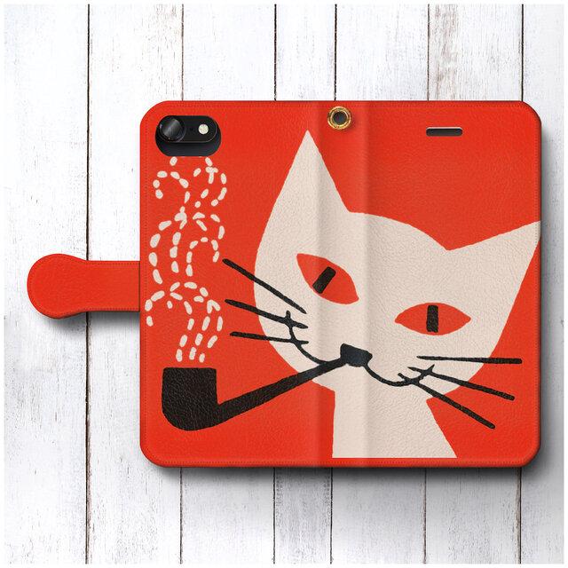【レトロポスター 東ヨーロッパ 猫】スマホケース手帳型 全機種 対応 絵画 人気 プレゼント iPhoneXRの画像1枚目