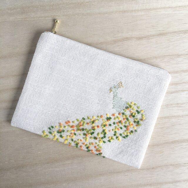 鳳凰の手織りポーチ 翡翠 コットンの画像1枚目