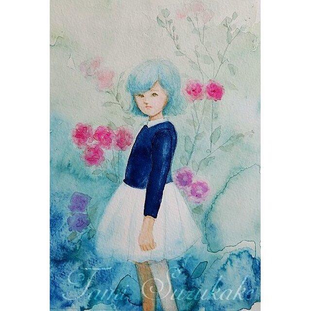 水彩・原画「薔薇と少女」の画像1枚目
