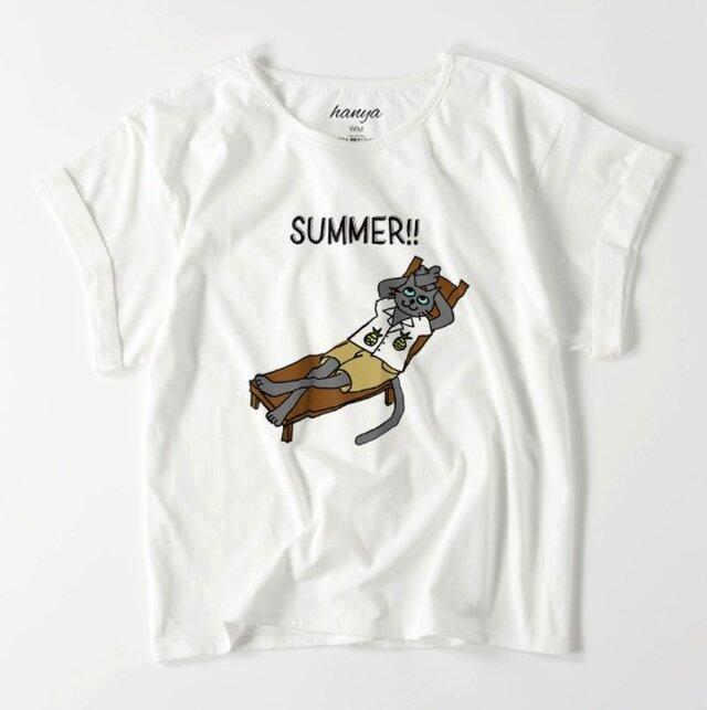 サマーキャット オーバーサイズtシャツ 猫 イラスト ゆったり ゆるかわ