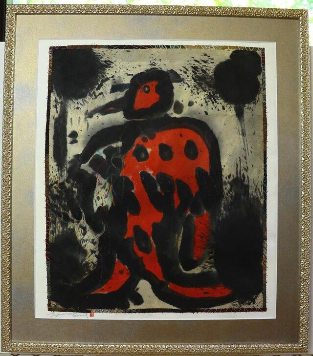 水墨画/ 彩墨画/ 墨の世界 / 赤の天使 /アート作品 /  contemporary art / Red Angelの画像1枚目