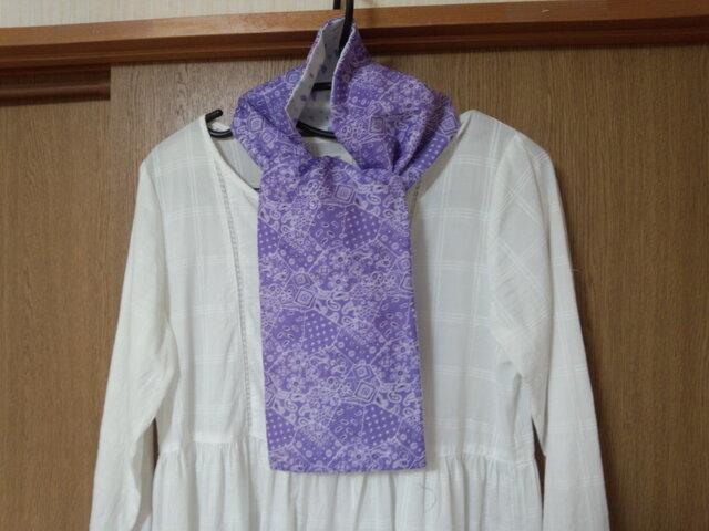 【手縫い】Wガーゼ・スカーフ☆16×110㎝☆紫色ターコイズ柄&水色/紫しずく柄☆春夏秋マフラー☆ギフトの画像1枚目