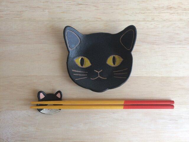 ネコ小皿(黒)の画像1枚目