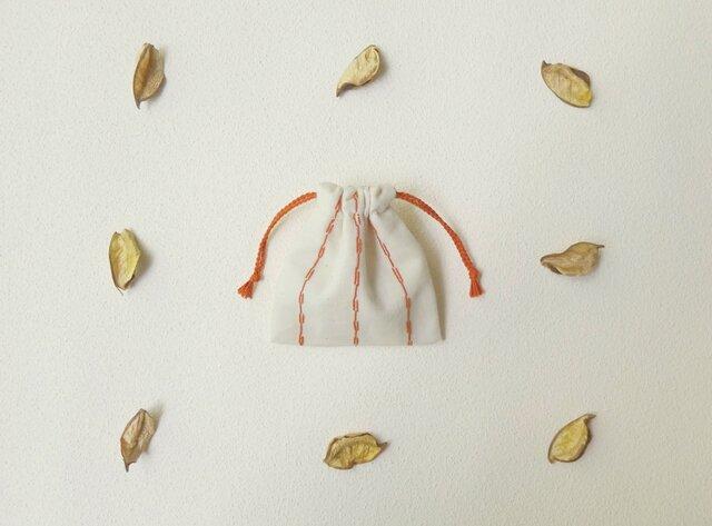 刺し子ストライプのミニ巾着の画像1枚目