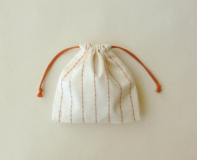 刺し子ストライプの巾着の画像1枚目