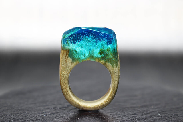 【送料無料】Ocean floor ~Resin Wood Ring~の画像1枚目
