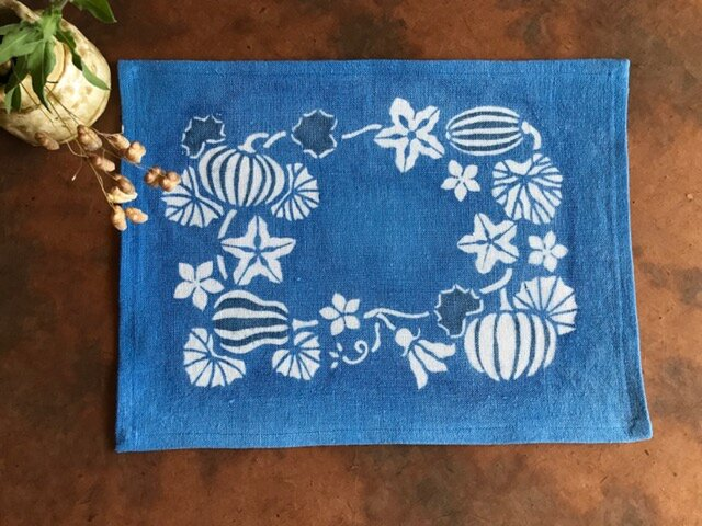 藍棒染めランチョンマット カボチャと瓜の画像1枚目