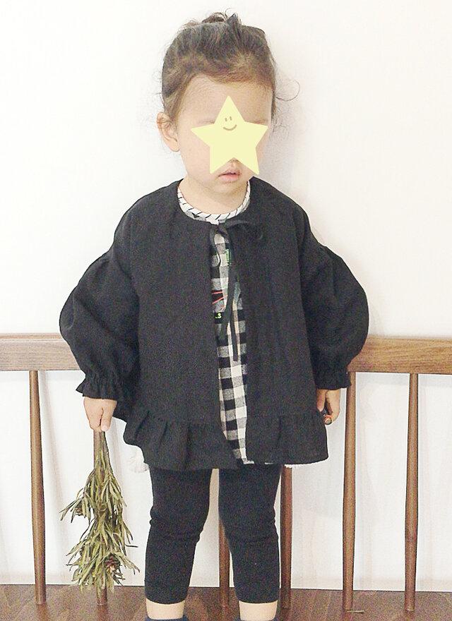 リネン裾フリル ノーカラージャケット / 90cmサイズの画像1枚目