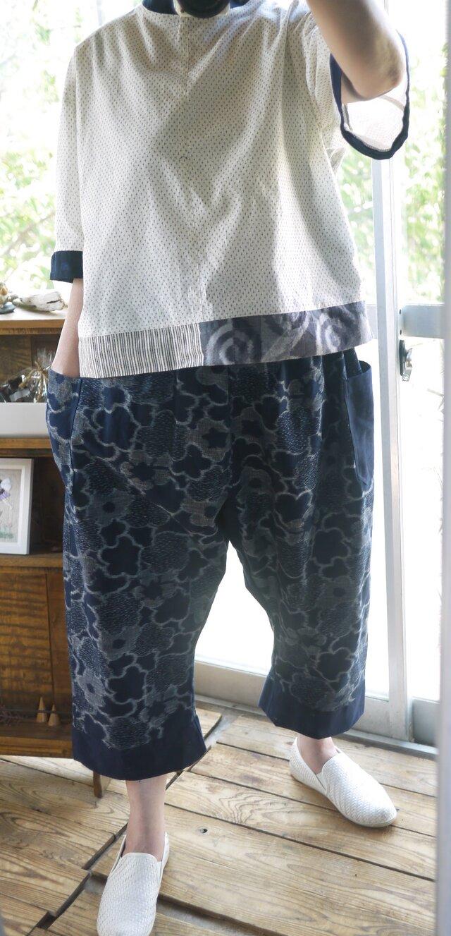 久留米絣濃紺花柄サルエルパンツの画像1枚目