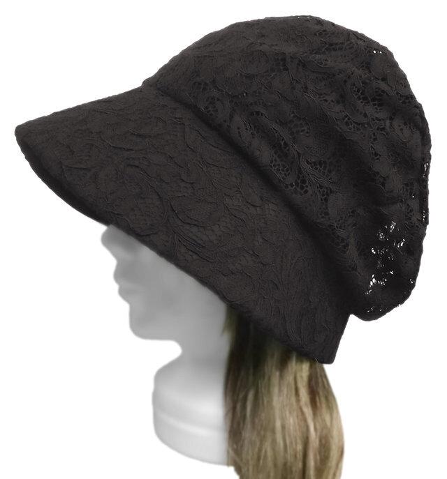 花柄コードレース/セレブ帽子(ゆったり)◆ブラックの画像1枚目