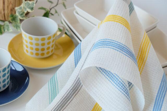 手織りリネンクロス【L-Stripe*02】の画像1枚目