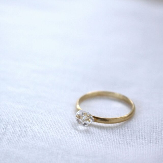 HerkimerDiamond Ring ハーキマーダイヤモンドのシンプルリング マット仕上げ Vermeil #13の画像1枚目