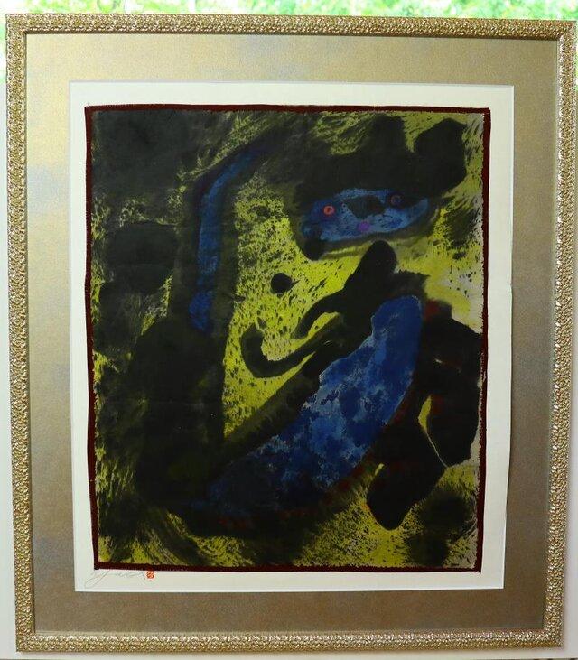 水墨画/ 彩墨画/ 墨の世界 / 折れた青い天使 /アート作品 /  contemporary art /angelの画像1枚目